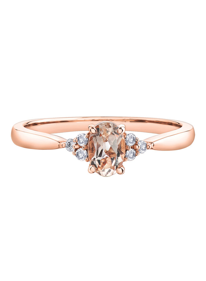 Bague or rose 10k morganite 6x4 mm dia 6x0.01ct I GH