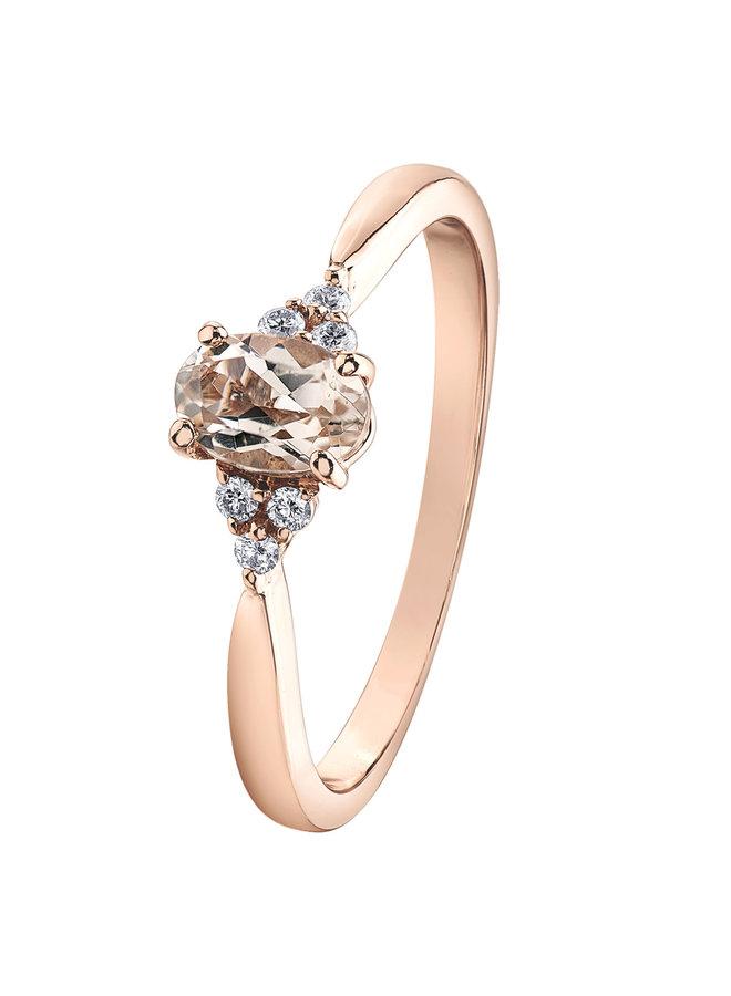 Bague 10k rose morganite 6x4 mm diamant 6x0.01ct I GH
