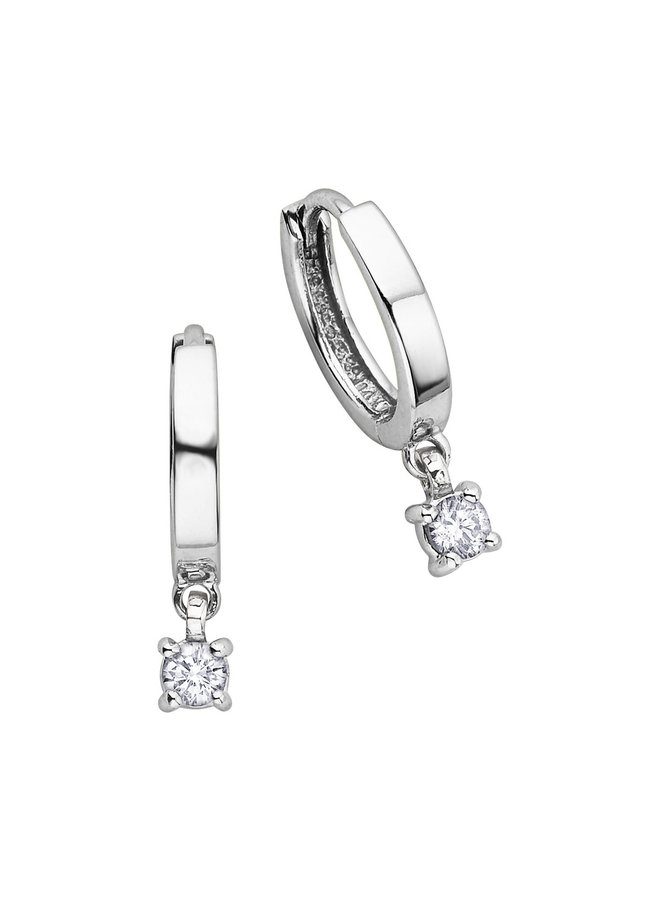Boucles d'oreilles anneaux 10k blanc diamant 2x0.137ct I G