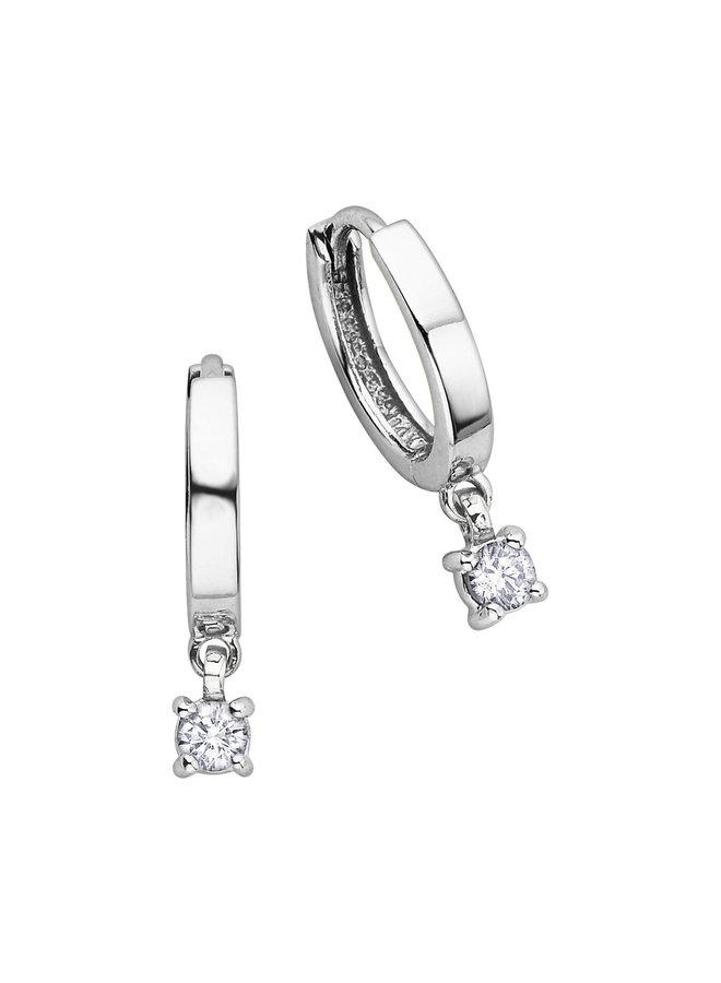Boucles d'oreilles anneaux or blanc 10k dia 2x0.137ct I G
