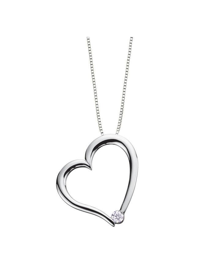 Ensemble 10k blanc pendentif coeur diamant=0.036ct I G