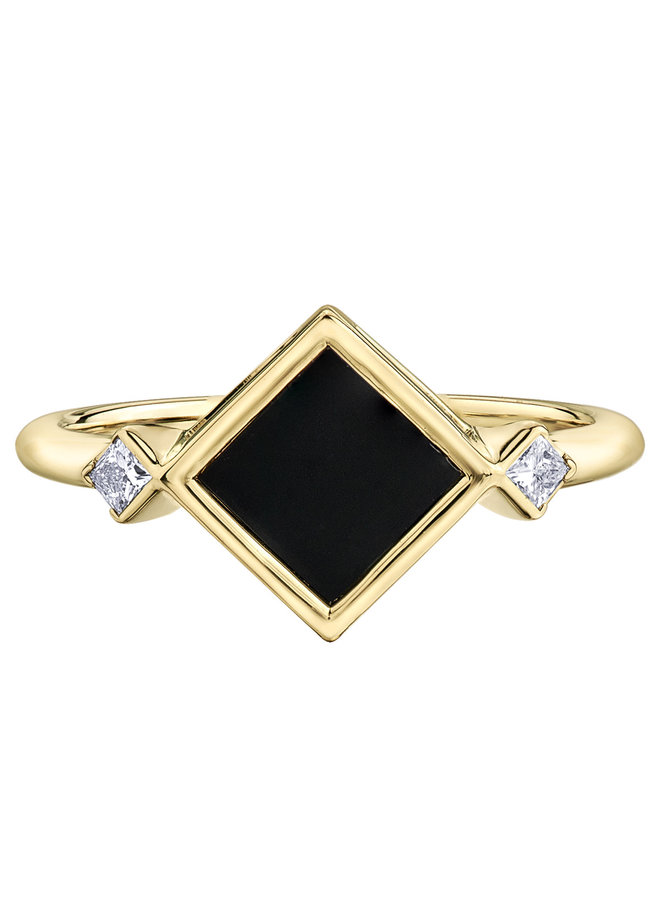 Bague or jaune 10k onyx 6x6 mm diamant 2x0.044ct SI2 G