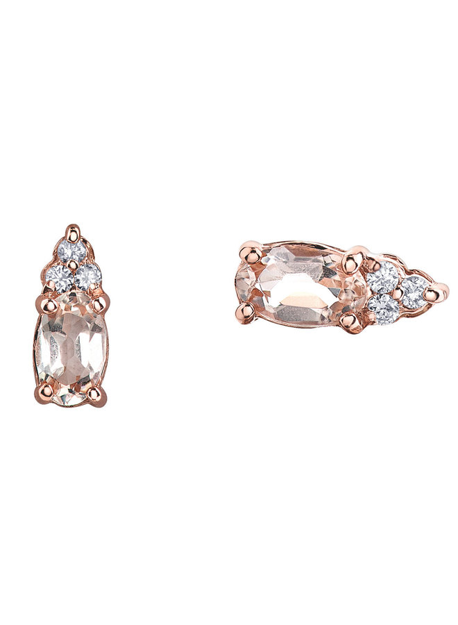 Boucles d'oreilles or rose 10k 2 morganite 5x3 mm diamant 6=0.05ct I GH