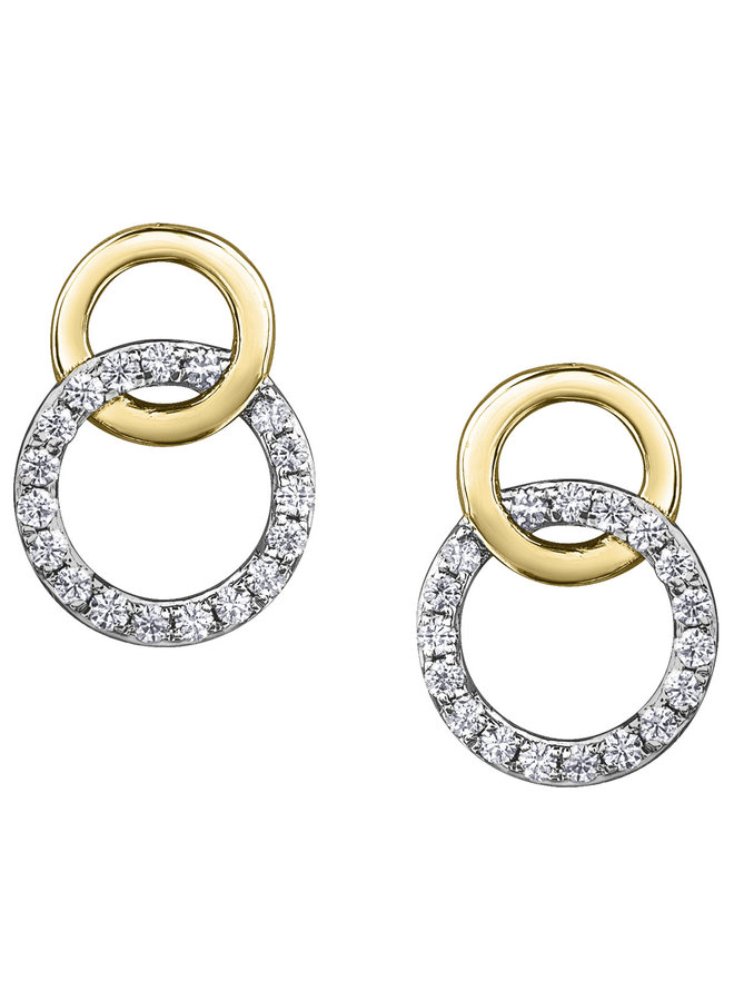 Boucles d'oreilles or jaune 10k diamant 36=0.144ct I GH