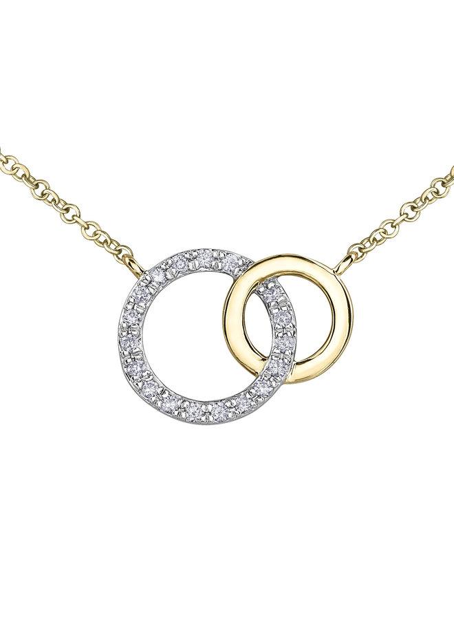 Collier or jaune 10k diamants 19=0.09ct I GH