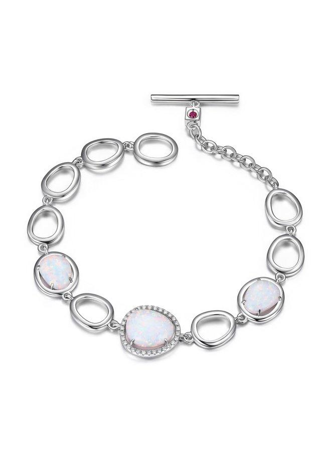 Bracelet halo opale et zircon 7.5''