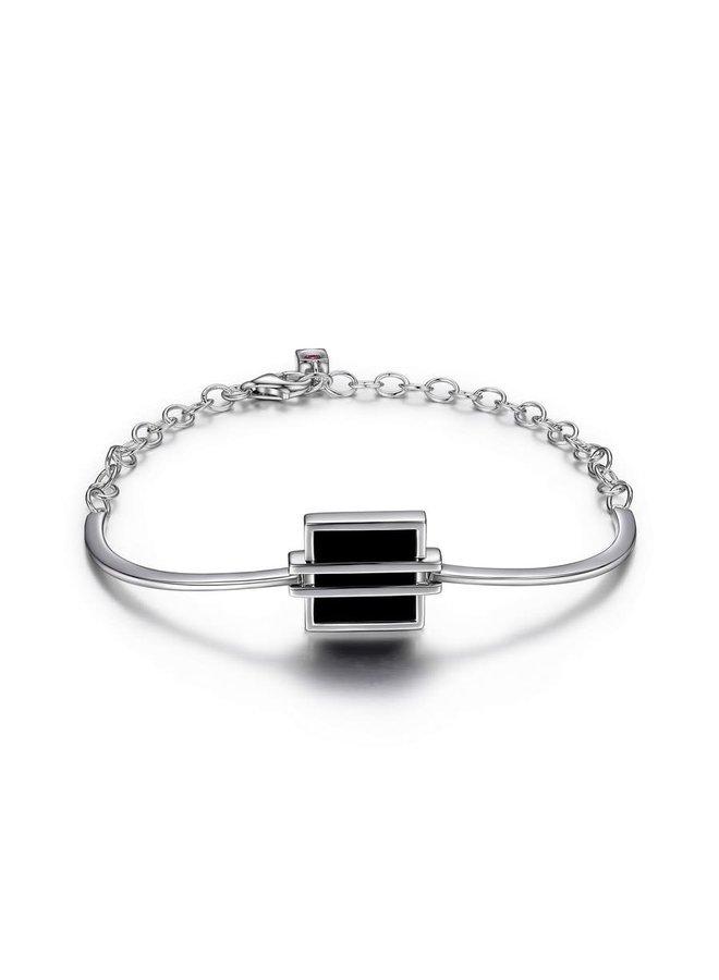 Bracelet midnight .925 semi-rigide agathe noire 7.5''