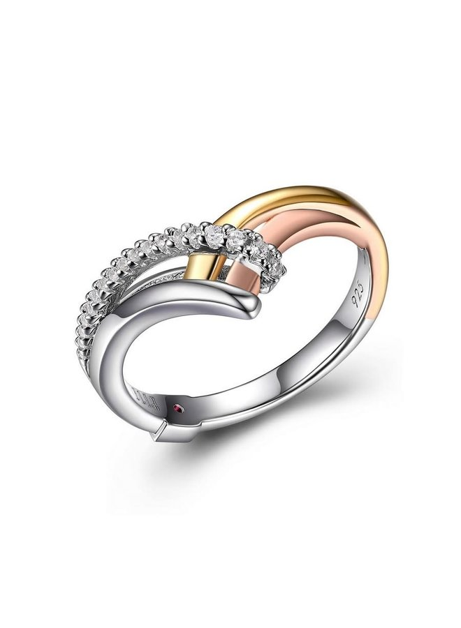 Gold Plated Sterling Silver 3-Tone Cubic
