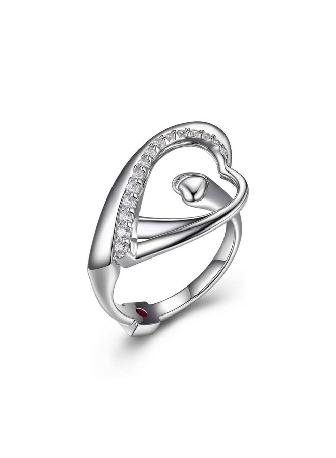 SS ELLE RING ''AMOUR'' HEART IN HEART CZ