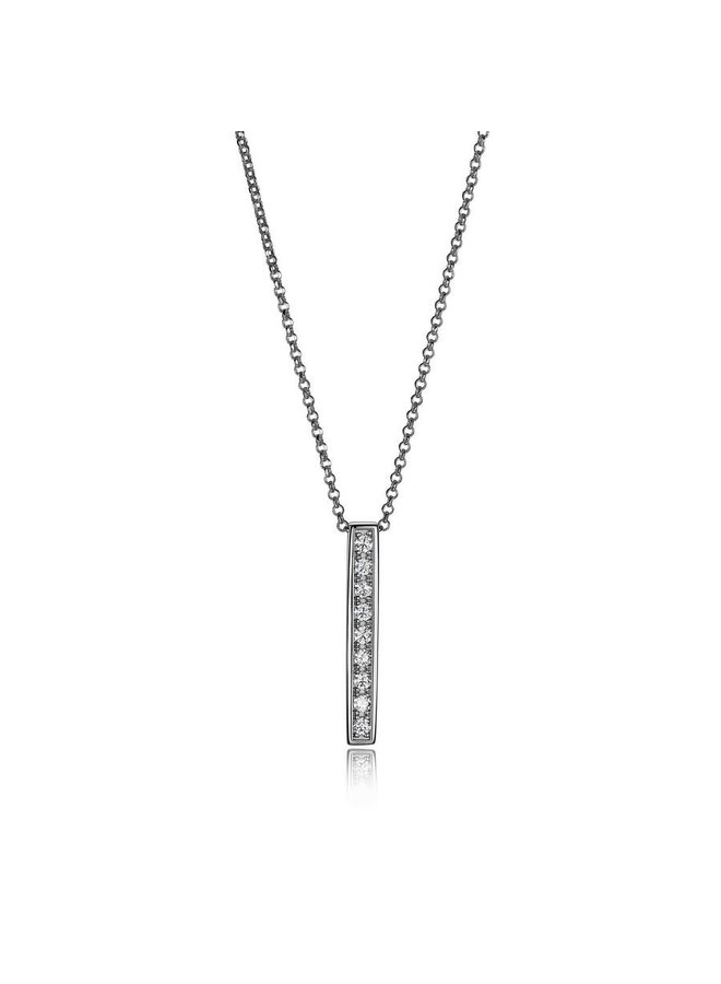 """SSRP Cubic Zirconia Vertical Bar Necklace 16"""" with 2"""" extender."""