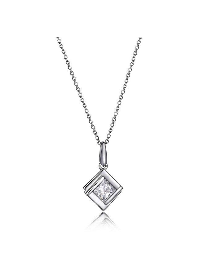 Collier promise .925 solitaire zircon carrée