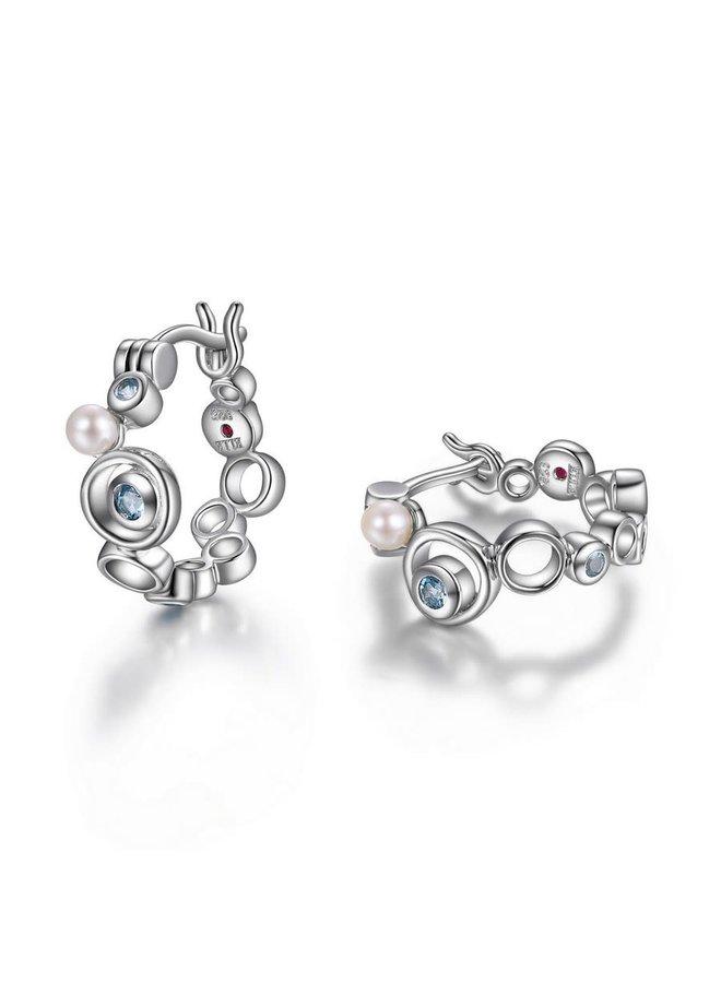 Boucle d'oreille anneau bubble .925 topaze et perle blanche 15.5mm