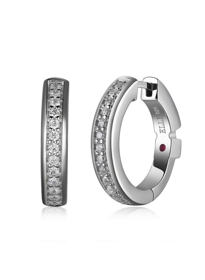 SS ELLE ''HOOPS'' SMALL ROUND 18MM CZ