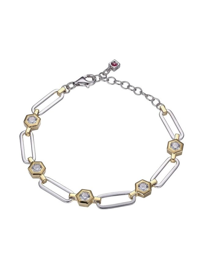 Bracelet .925 cadre 2 tons zircon 7''