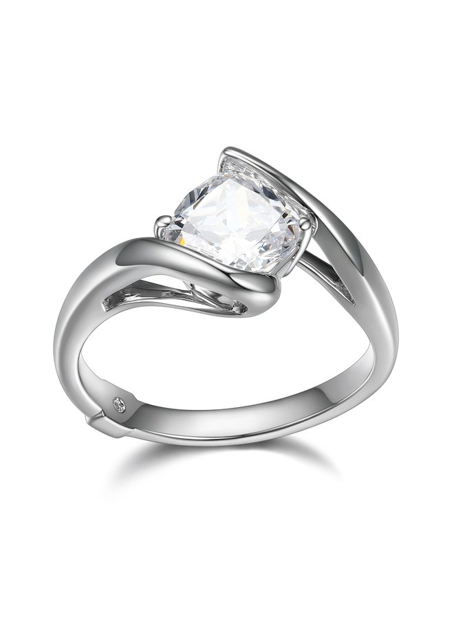 "SS ELLE ""PROMISE"" 6.5MM CUSHION CZ RING IN RHODIUM PLATING. SIZE 7"