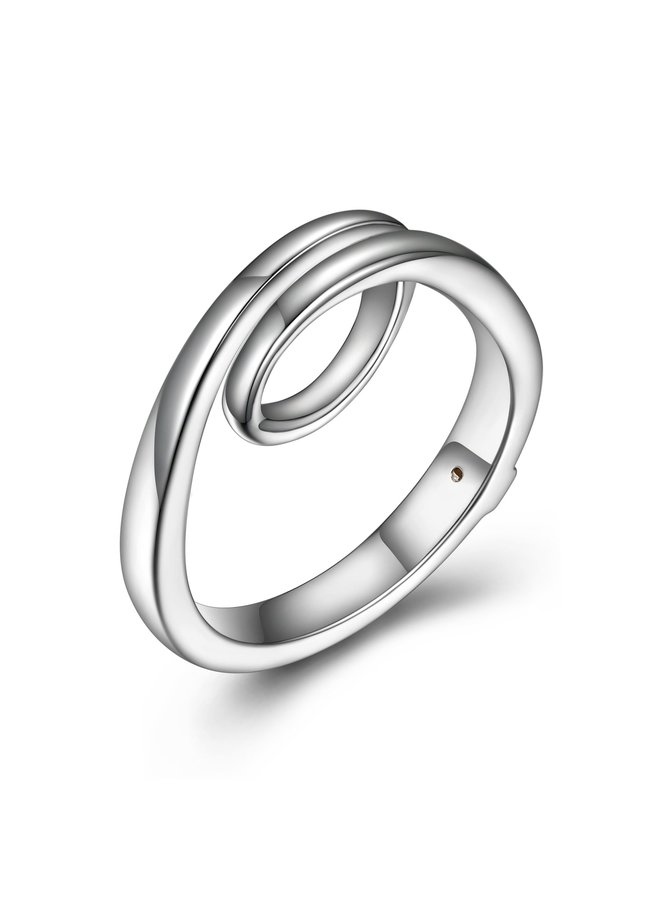 """SS ELLE """"ETERNITY"""" RING IN RHODIUM PLATING. SIZE 7"""