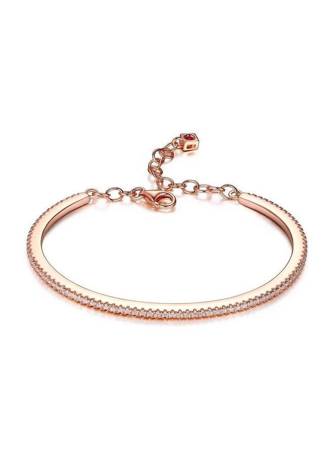 Bracelet rigide .925 rosée zircon 6.75''