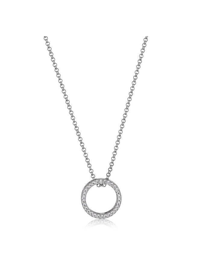 """SS ELLE """"SPHERE"""" OPEN CIRCLE NECKLACE WITH CZ IN  RHODIUM PLATING. 18+2"""""""