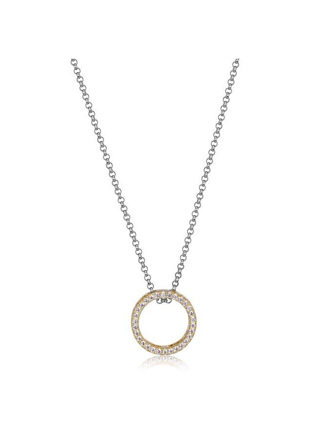 Collier sphere .925 pendentif rond dorée zircon  18''