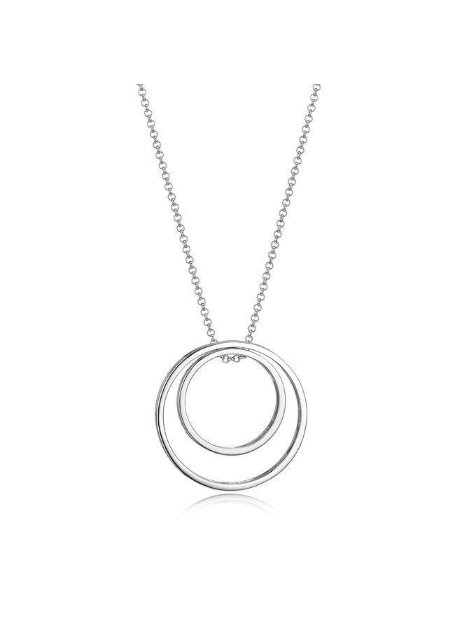 "SS ELLE ""SPHERE"" INTERCHANGEABLE OPEN CIRCLE NECKLACE  IN RHODIUM PLATING. 30+2"""
