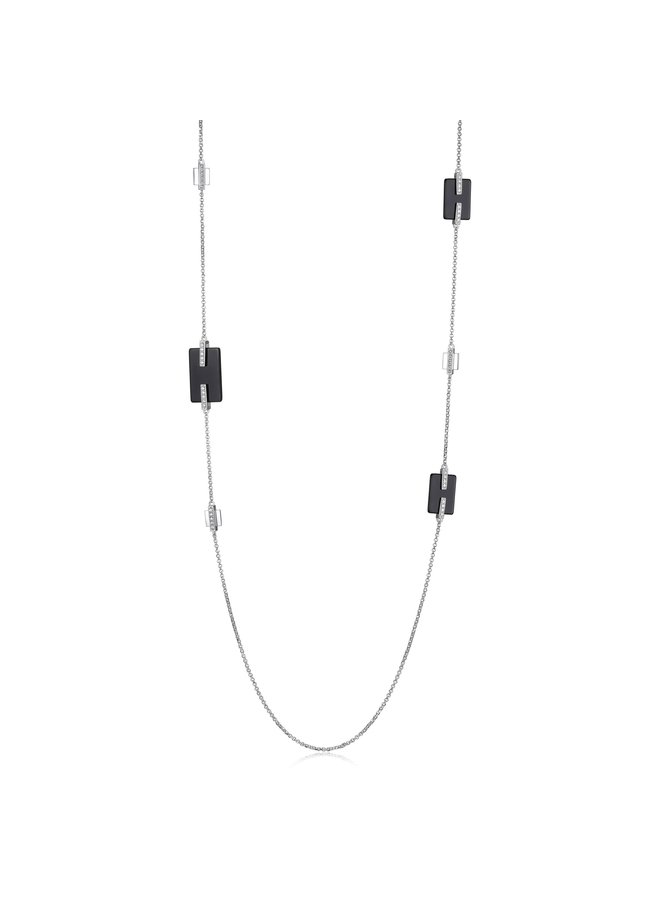 """SS ELLE """"MIDNIGHT"""" BLACK AGATE AND CZ STATION NECKLACE  IN RHODIUM PLATING.36"""""""
