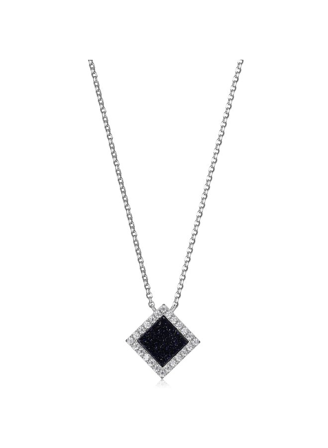 """SS ELLE """"NEFER"""" BLUE GOLD STONE NECKLACE WITH CZ IN RHODIUM PLATING.17+2"""""""