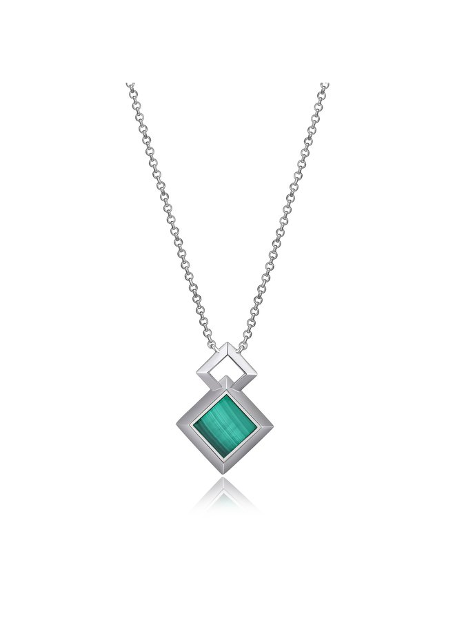 "SS ELLE ""NEFER"" MALACHITE NECKLACE IN RHODIUM PLATING. 17+2"""