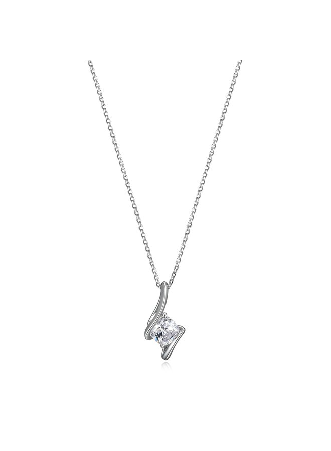 "SS ELLE ""PROMISE"" 7MM CUSHION CZ NECKLACE RING IN RHODIUM PLATING. 17+3"""