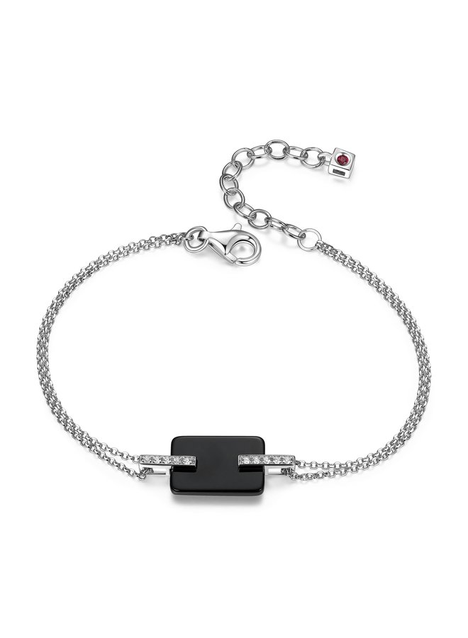 """SS ELLE """"MIDNIGHT"""" BLACK AGATE AND CZ BRACELET  IN RHODIUM PLATING. 6.75+1.5"""""""