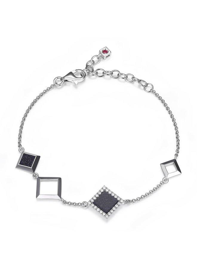 Bracelet nefer .925 zircon noir et blanc 6.75''