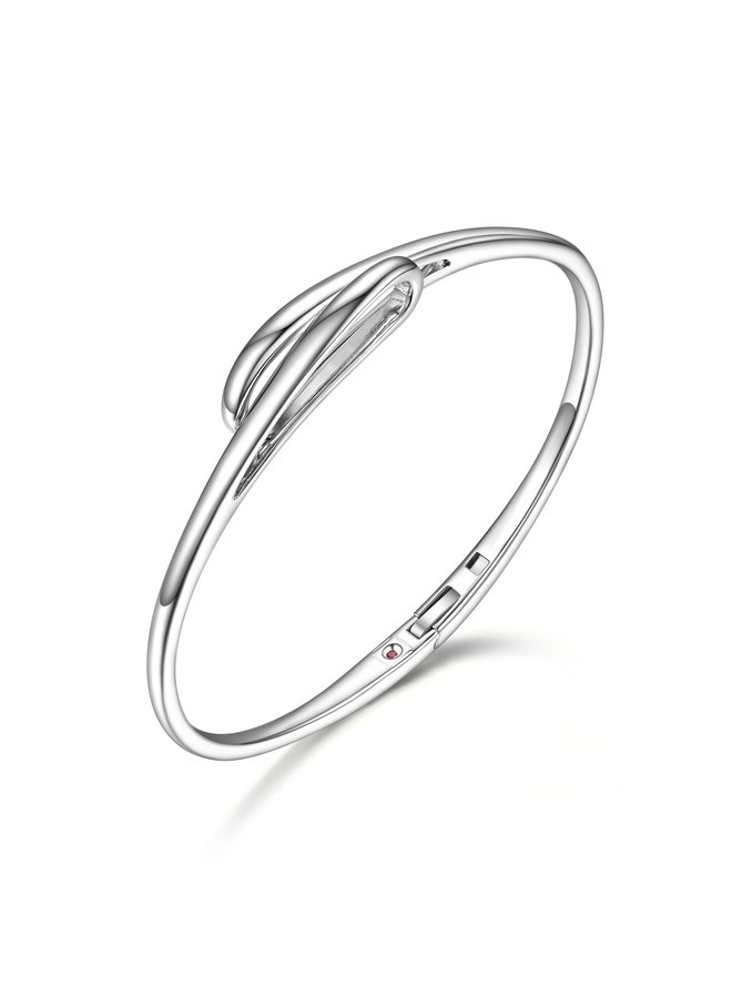"SS ELLE ""EMBRACE"" BANGLE IN RHODIUM PLATING. 6.75"""