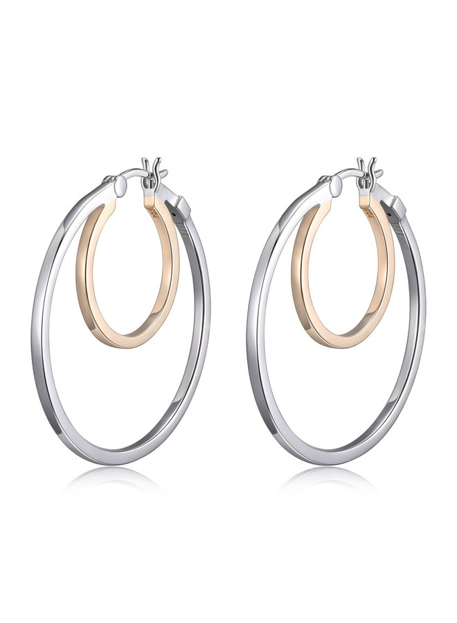 """SS ELLE """"SPHERE"""" 35MM DOUBLE HOOP EARRING  IN RHODIUM AND GOLD PLATING."""
