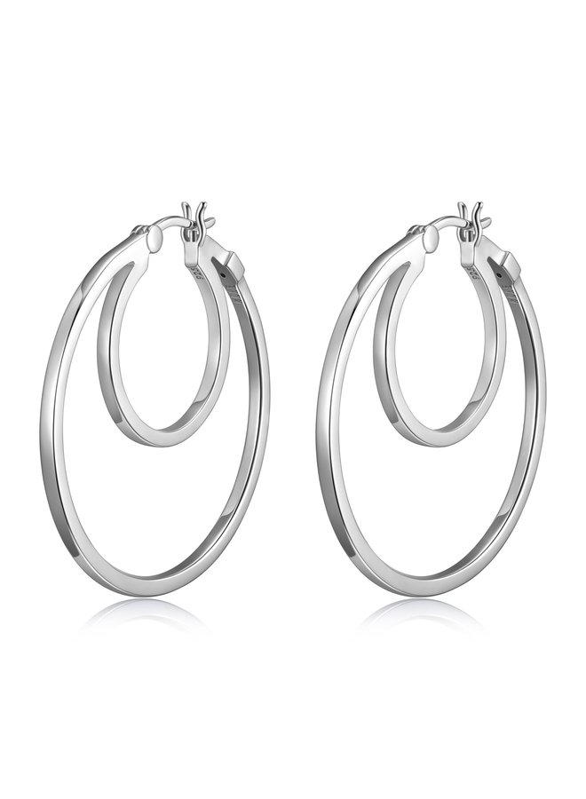 "SS ELLE ""SPHERE"" 35MM DOUBLE HOOP EARRING  IN RHODIUM PLATING."