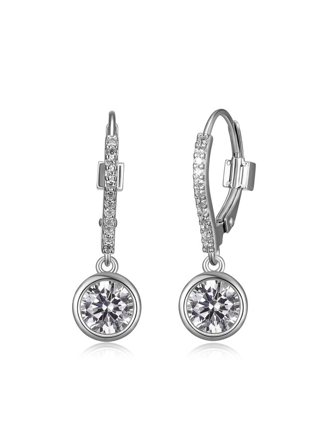 """SS ELLE """"SPHERE"""" 6MM BEZEL SET EARRING WITH CZ IN RHODIUM PLATING."""