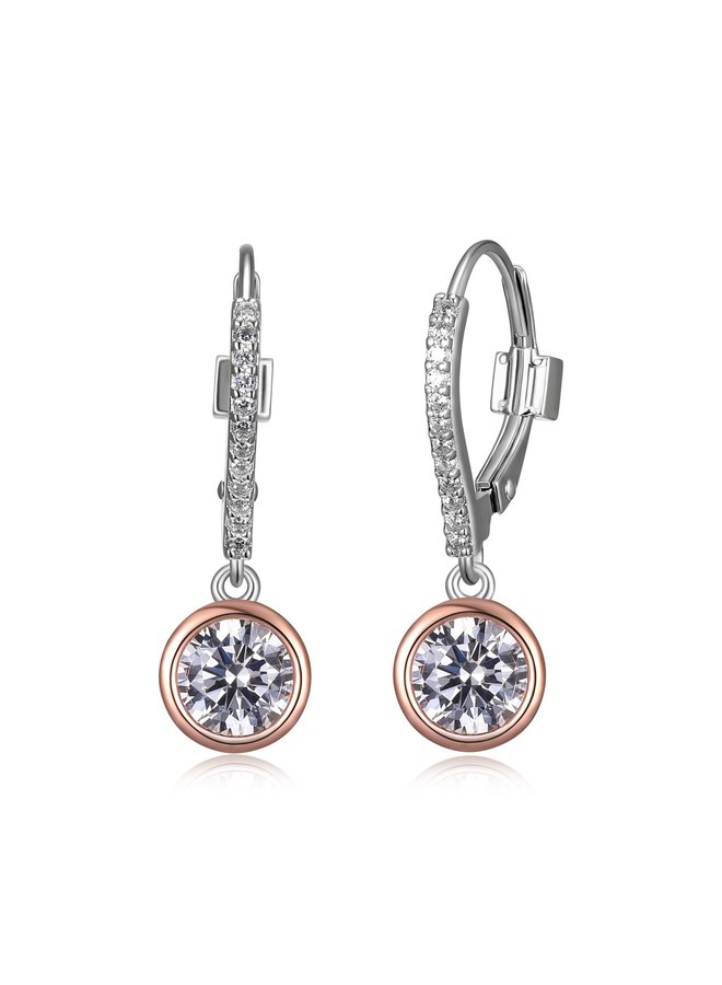 "SS ELLE ""SPHERE"" 6MM BEZEL SET  EARRING WITH CZ IN RHODIUM &ROSE GOLD PLATING."