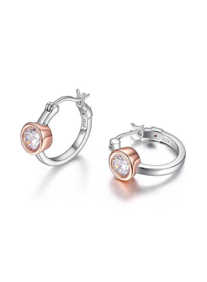 Boucle d'oreille anneau .925 2tons zircon 6mm anneau 18mm