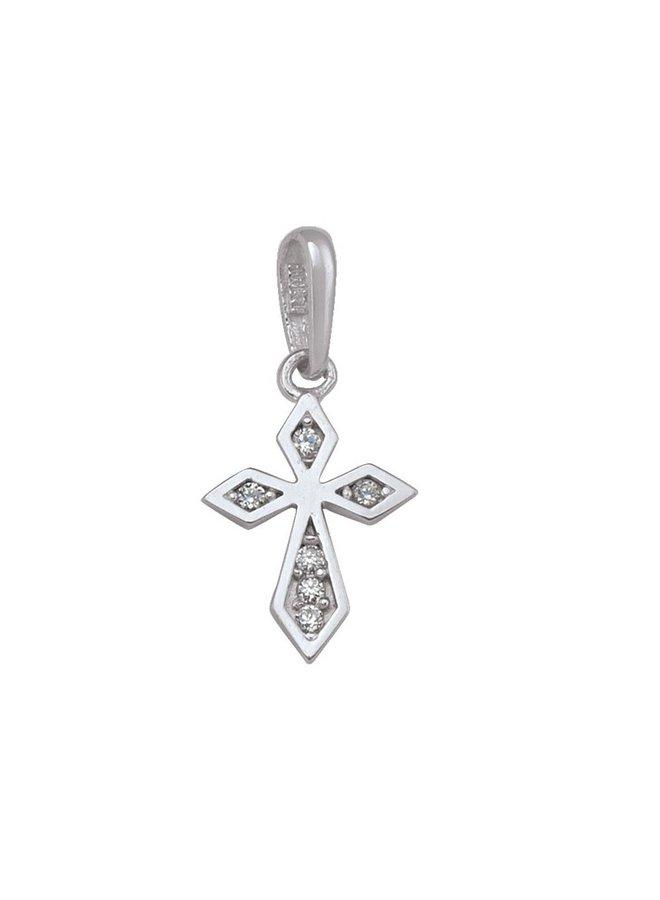 Pendentif croix 10k blanc zircon
