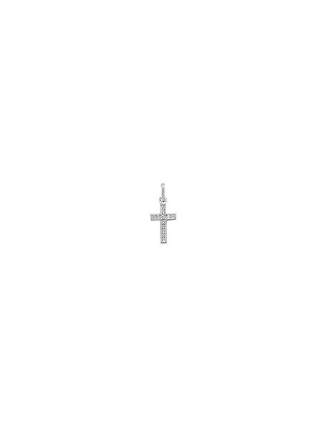 Pendentif croix 10k blanc zircons