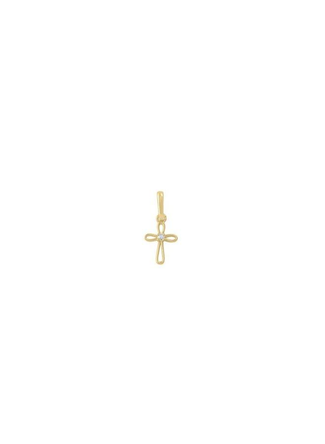 Pendentif croix 10k jaune zircon