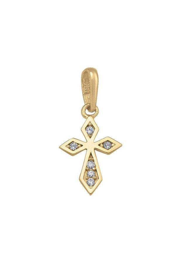 Pendentif croix 10k or jaune zircon