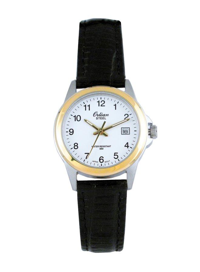Orléan dame acier 2 tons bracelet cuir noir date 26mm
