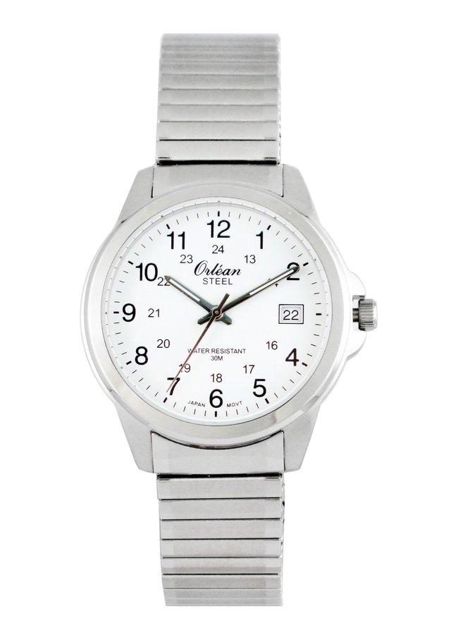 Orlean homme acier fond blanc bracelet extensible 40mm