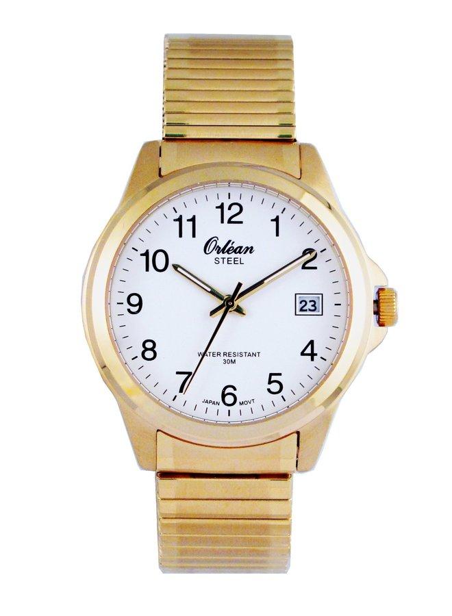 Orlean homme acier doré bracelet extensible 40mm