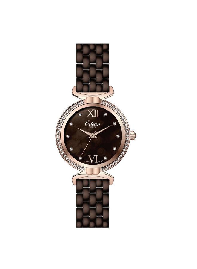 Orlean dame acier rosé fond nacré brun zircon bracelet acier brun 32mm