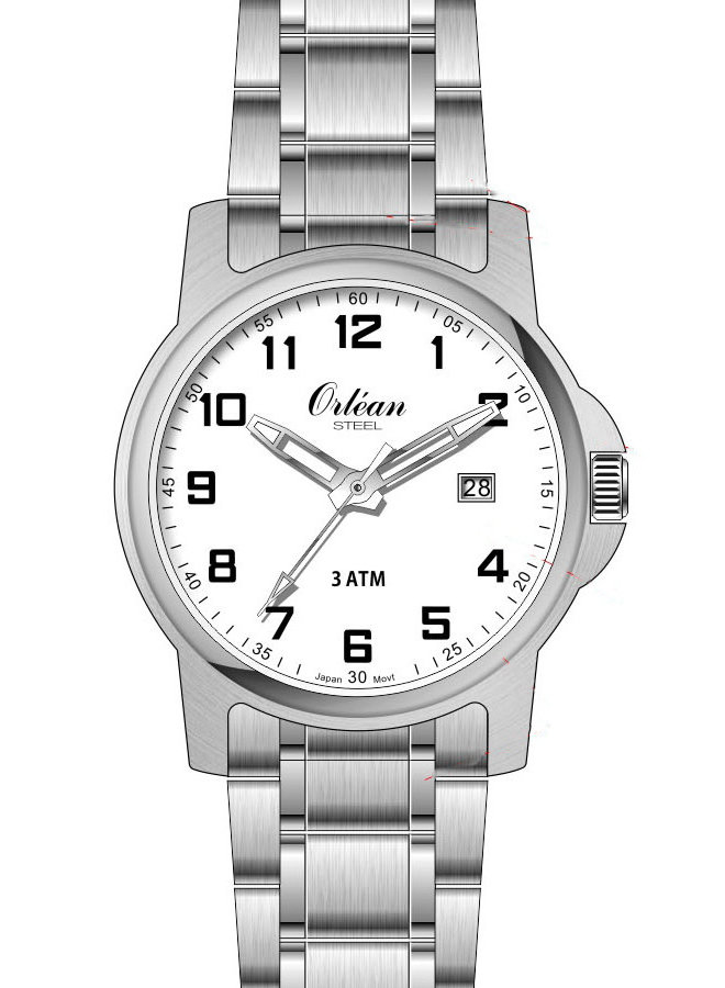 Orlean homme acier fond blanc 40mm