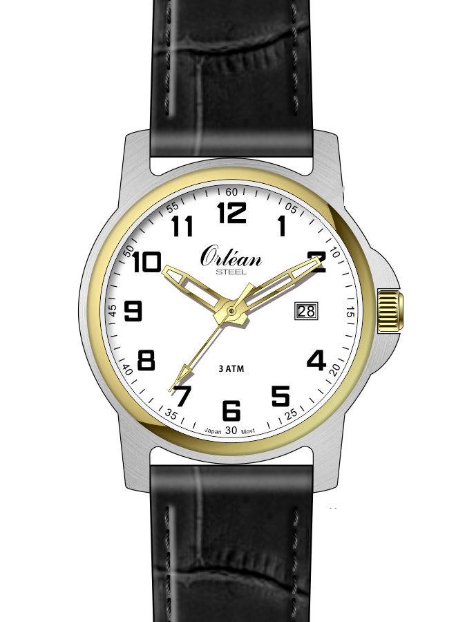 Orléan homme acier 2 tons bracelet cuir noir 40mm