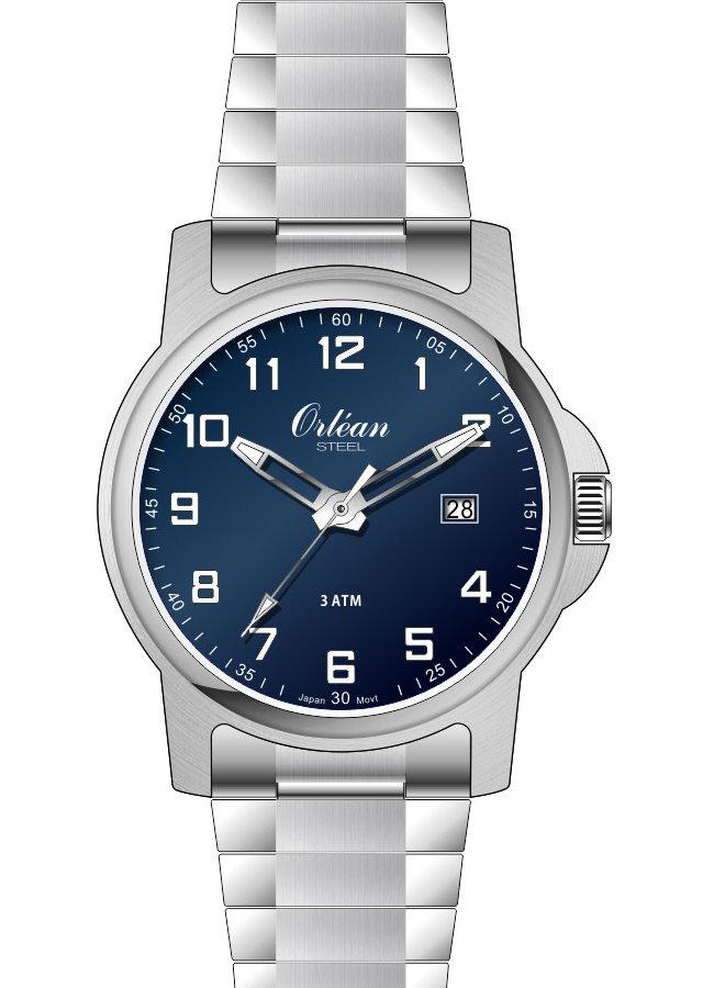 Orlean homme acier fond bleu bracelet extensible 40mm
