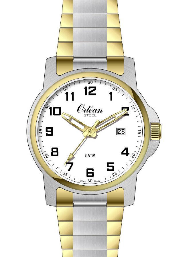 Orlean homme acier 2 tons fond blanc bracelet extensible 35mm