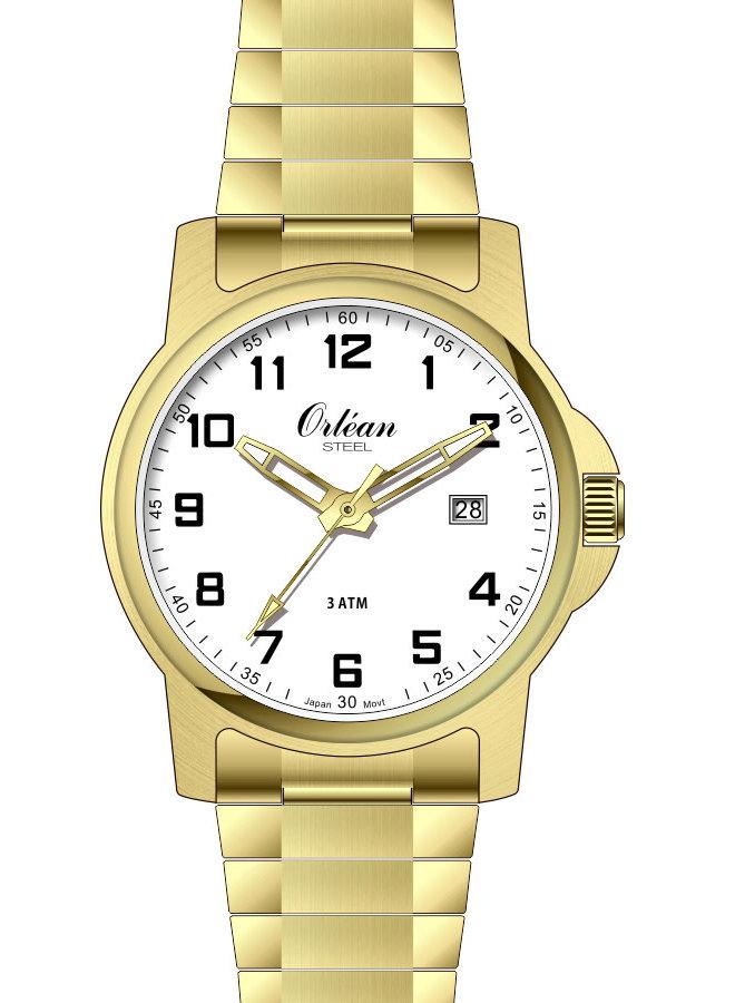 Orlean homme acier doré fond blanc bracelet extensible 35mm