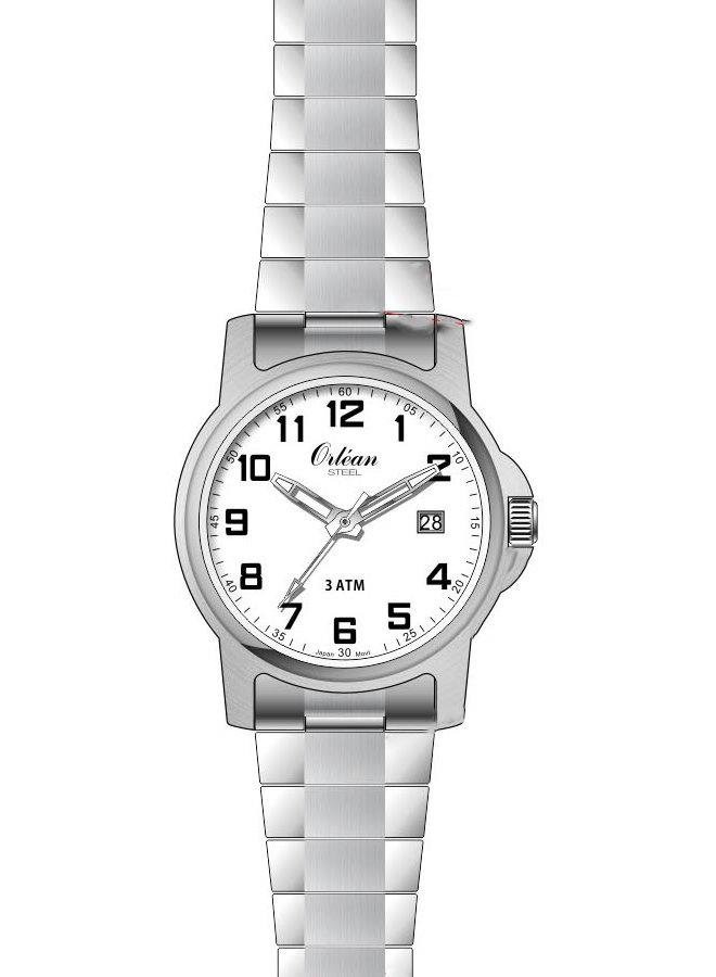 Orlean dame acier fond blanc bracelet extensible 22mm